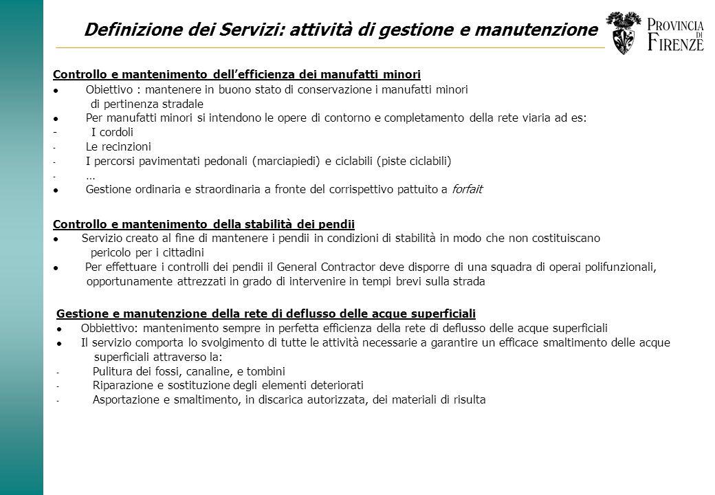 Definizione dei Servizi: attività di gestione e manutenzione