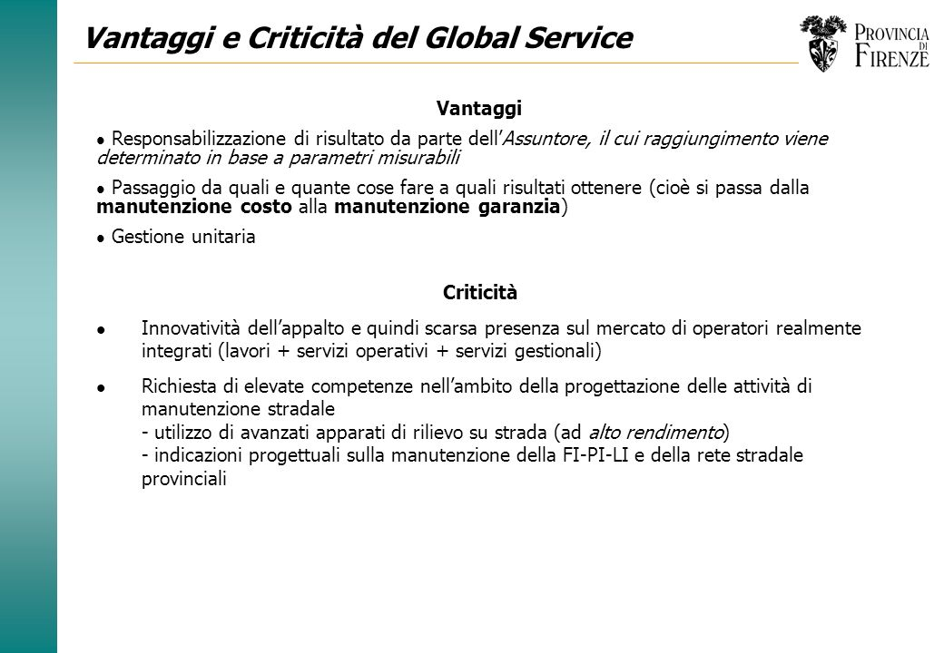 Vantaggi e Criticità del Global Service
