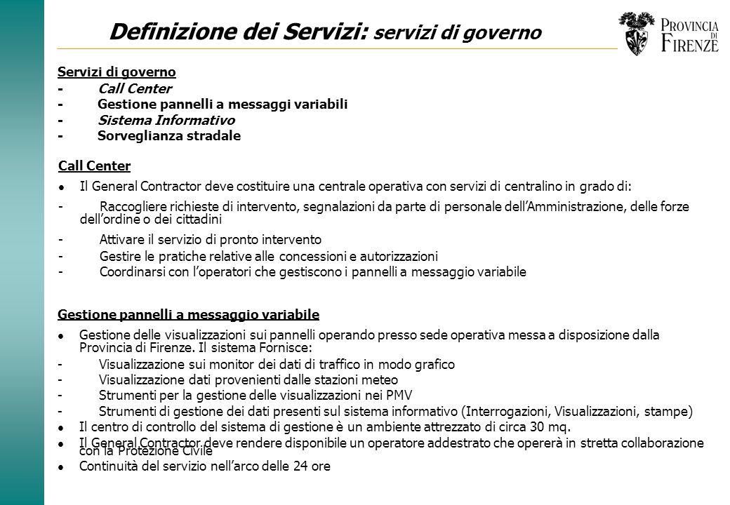 Definizione dei Servizi: servizi di governo