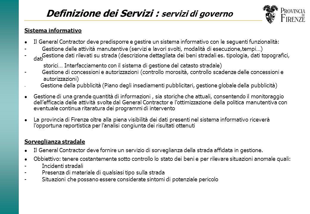 Definizione dei Servizi : servizi di governo