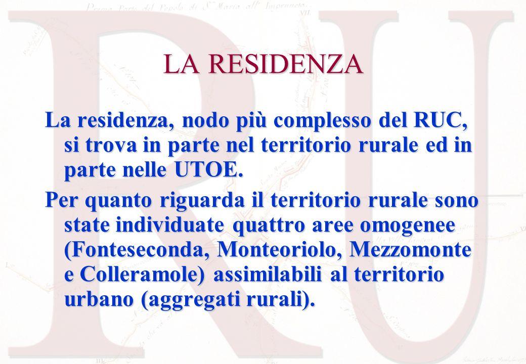 LA RESIDENZA La residenza, nodo più complesso del RUC, si trova in parte nel territorio rurale ed in parte nelle UTOE.