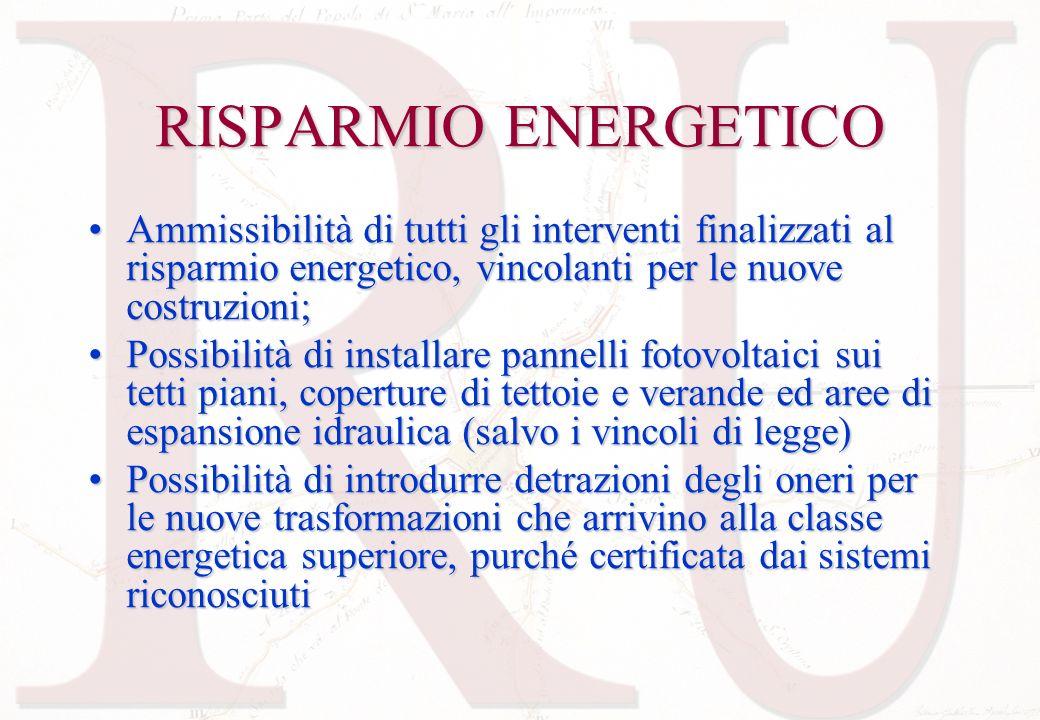 RISPARMIO ENERGETICO Ammissibilità di tutti gli interventi finalizzati al risparmio energetico, vincolanti per le nuove costruzioni;
