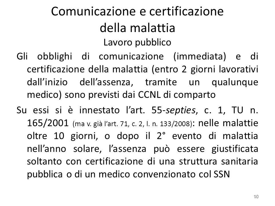 Comunicazione e certificazione della malattia Lavoro pubblico