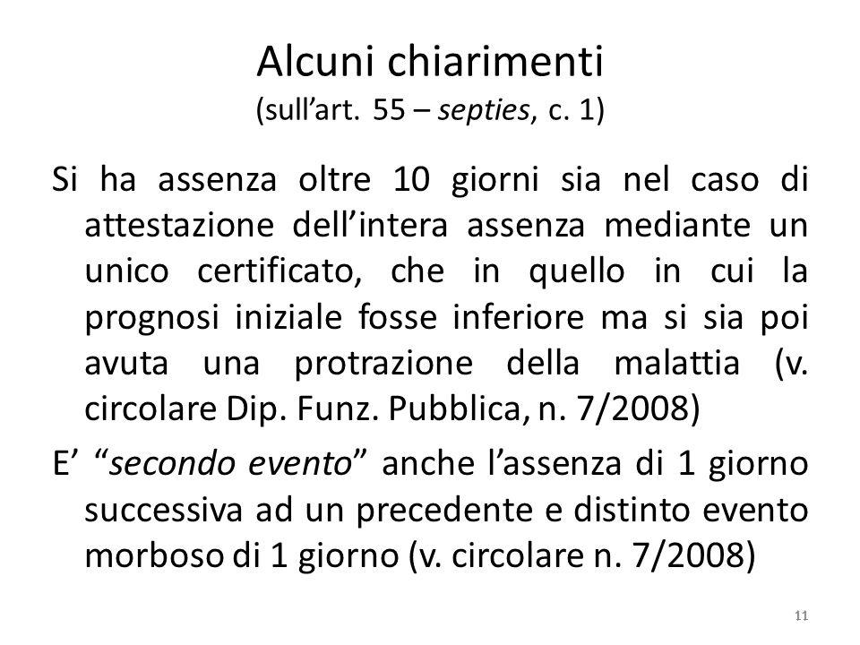 Alcuni chiarimenti (sull'art. 55 – septies, c. 1)