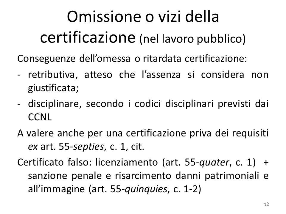 Omissione o vizi della certificazione (nel lavoro pubblico)