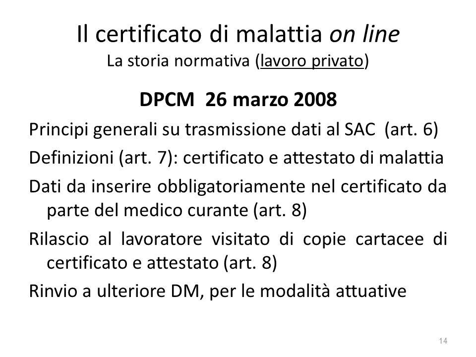 Il certificato di malattia on line La storia normativa (lavoro privato)