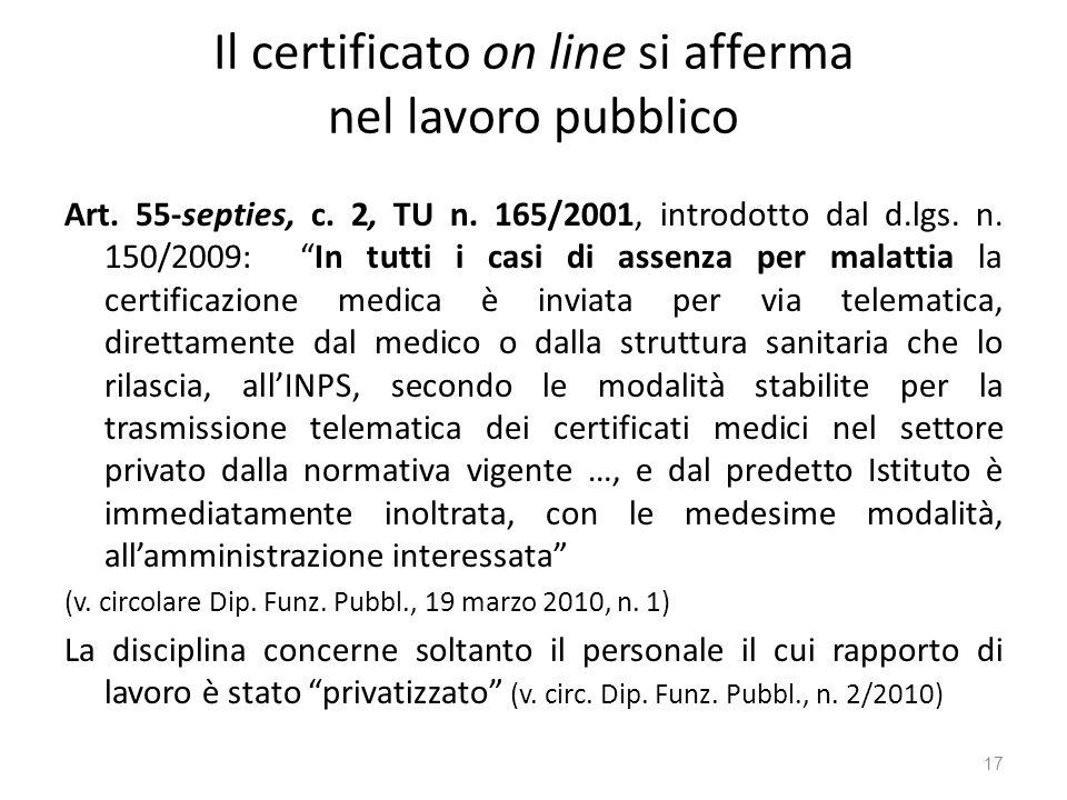 Il certificato on line si afferma nel lavoro pubblico