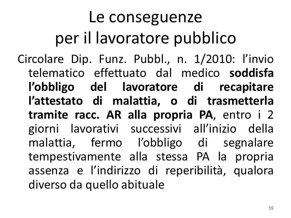 Le conseguenze per il lavoratore pubblico