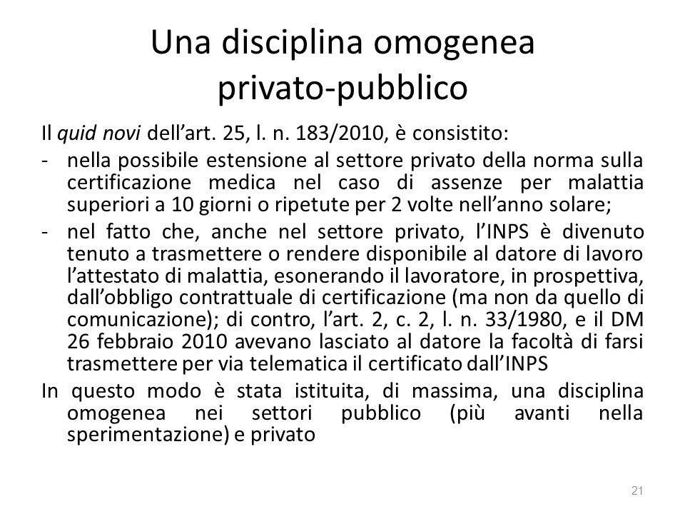 Una disciplina omogenea privato-pubblico