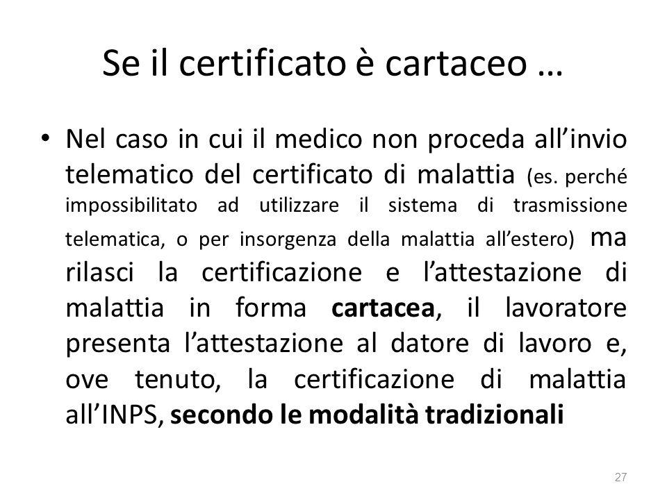 Se il certificato è cartaceo …
