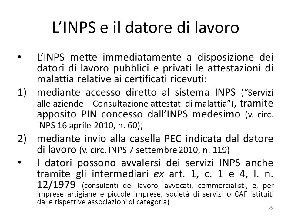 La sospensione della prestazione di lavoro ppt scaricare for Inps servizi per aziende e consulenti