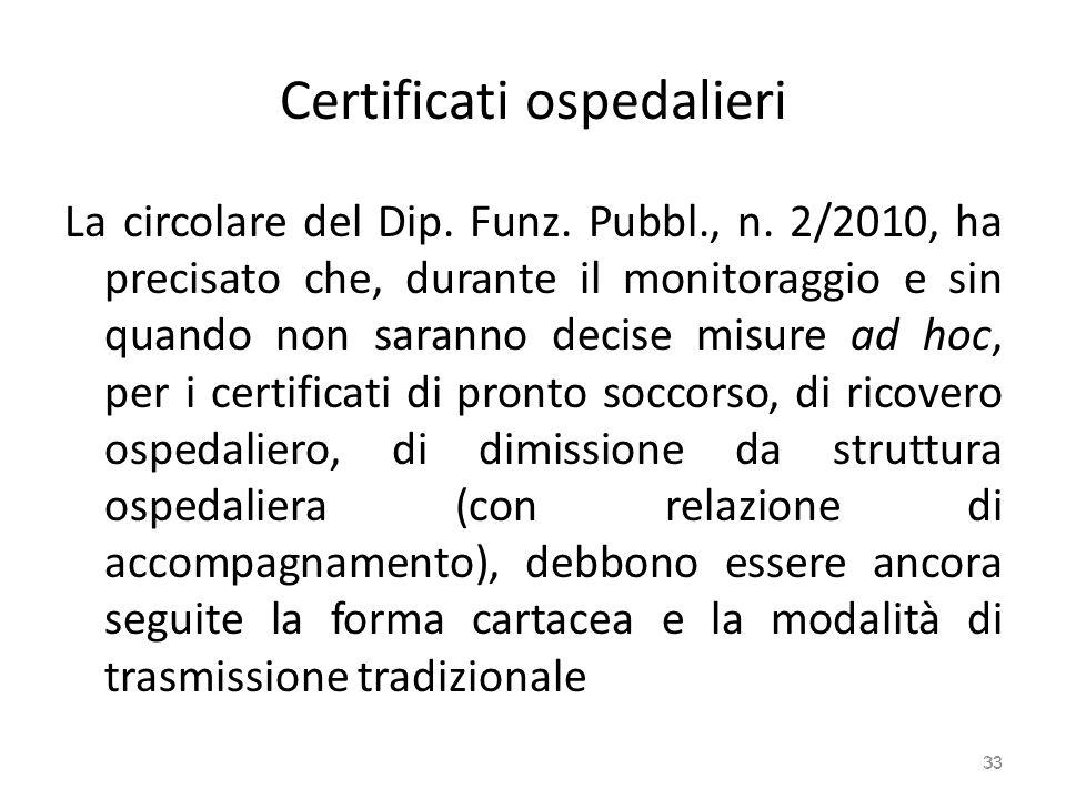 Certificati ospedalieri