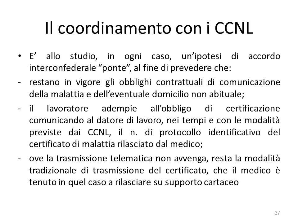Il coordinamento con i CCNL