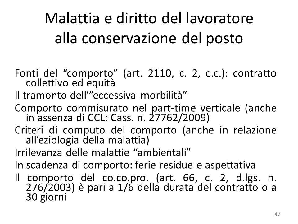 Malattia e diritto del lavoratore alla conservazione del posto