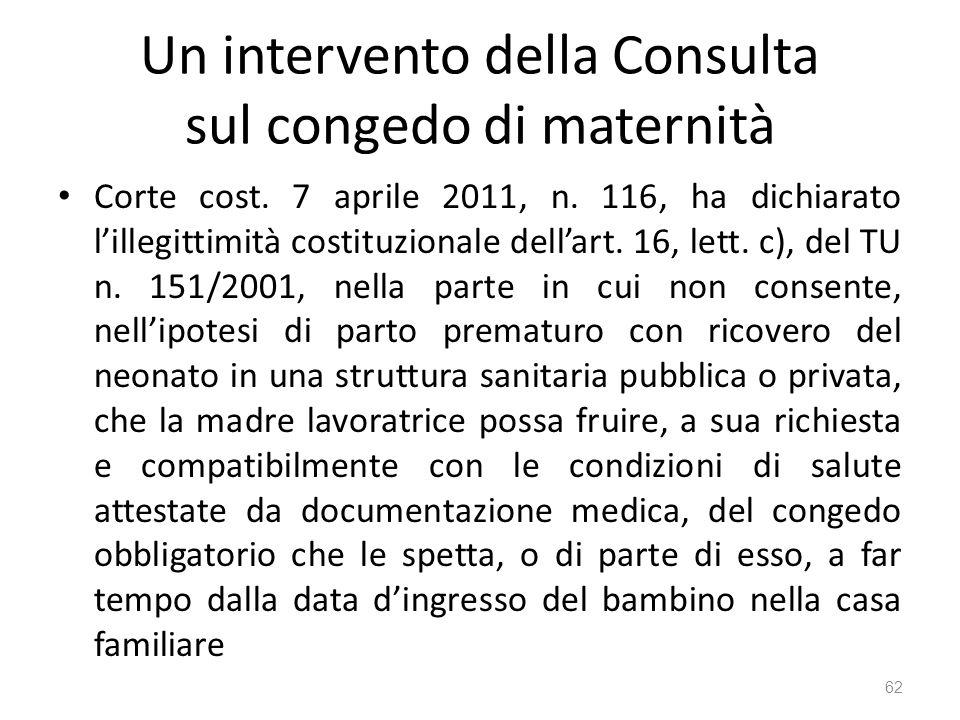 Un intervento della Consulta sul congedo di maternità