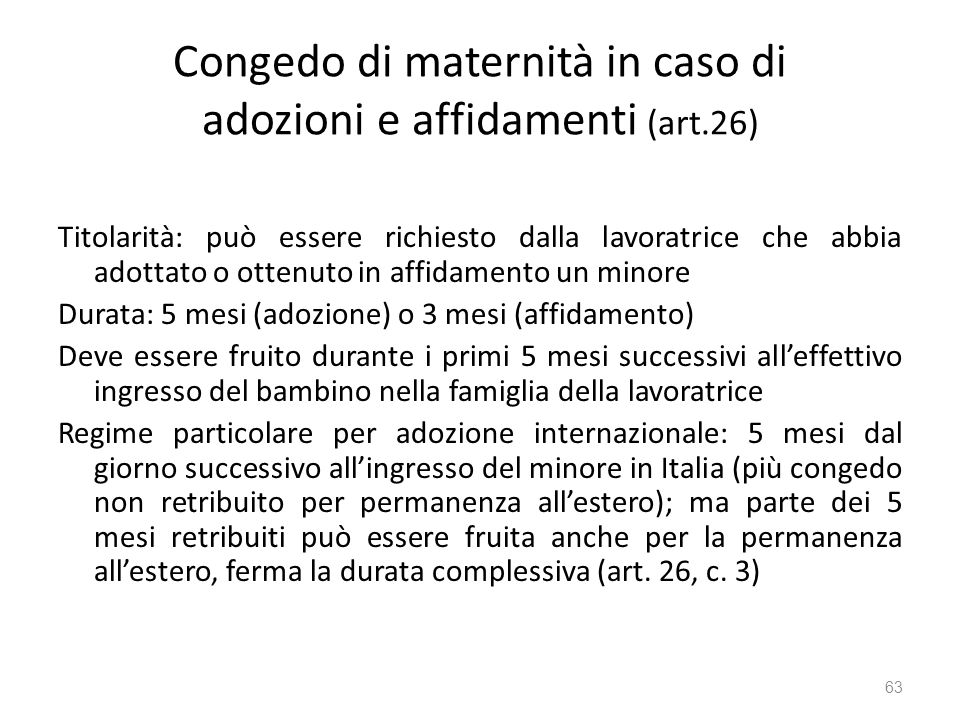 Congedo di maternità in caso di adozioni e affidamenti (art.26)