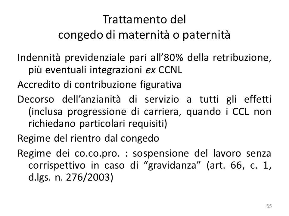 Trattamento del congedo di maternità o paternità