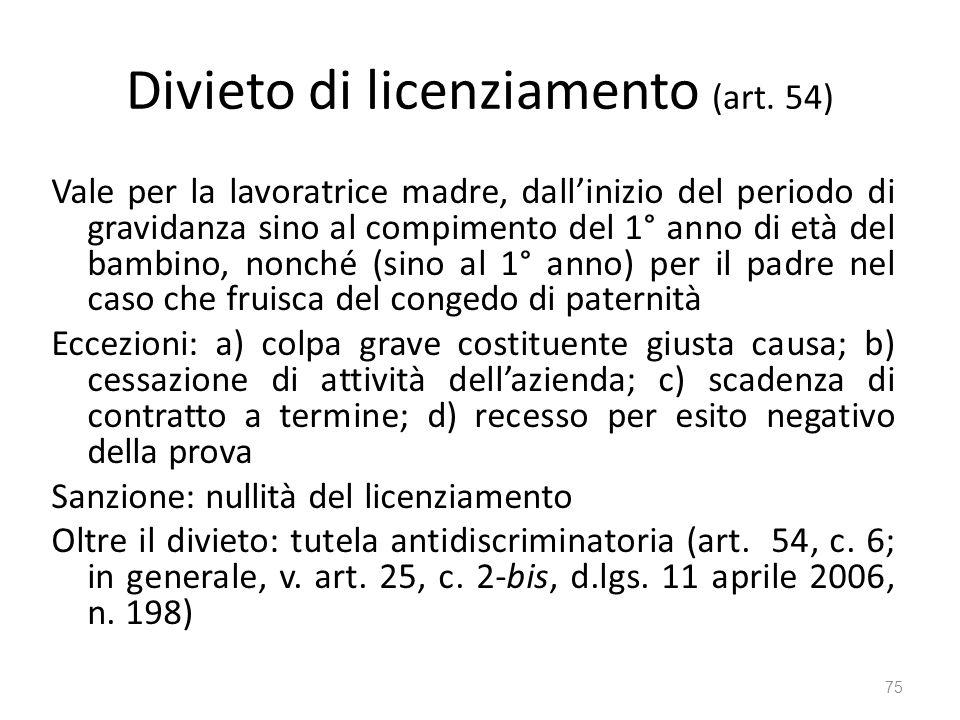 Divieto di licenziamento (art. 54)