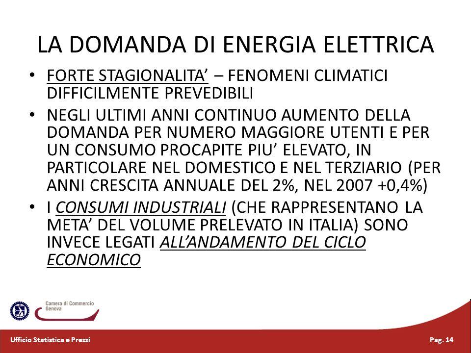 LA DOMANDA DI ENERGIA ELETTRICA