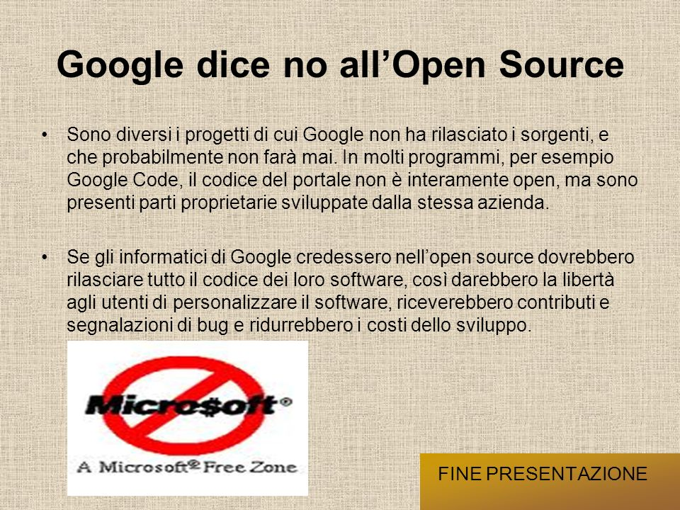 Google dice no all'Open Source
