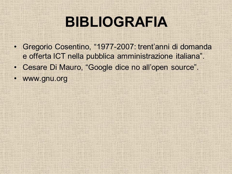 BIBLIOGRAFIA Gregorio Cosentino, 1977-2007: trent'anni di domanda e offerta ICT nella pubblica amministrazione italiana .