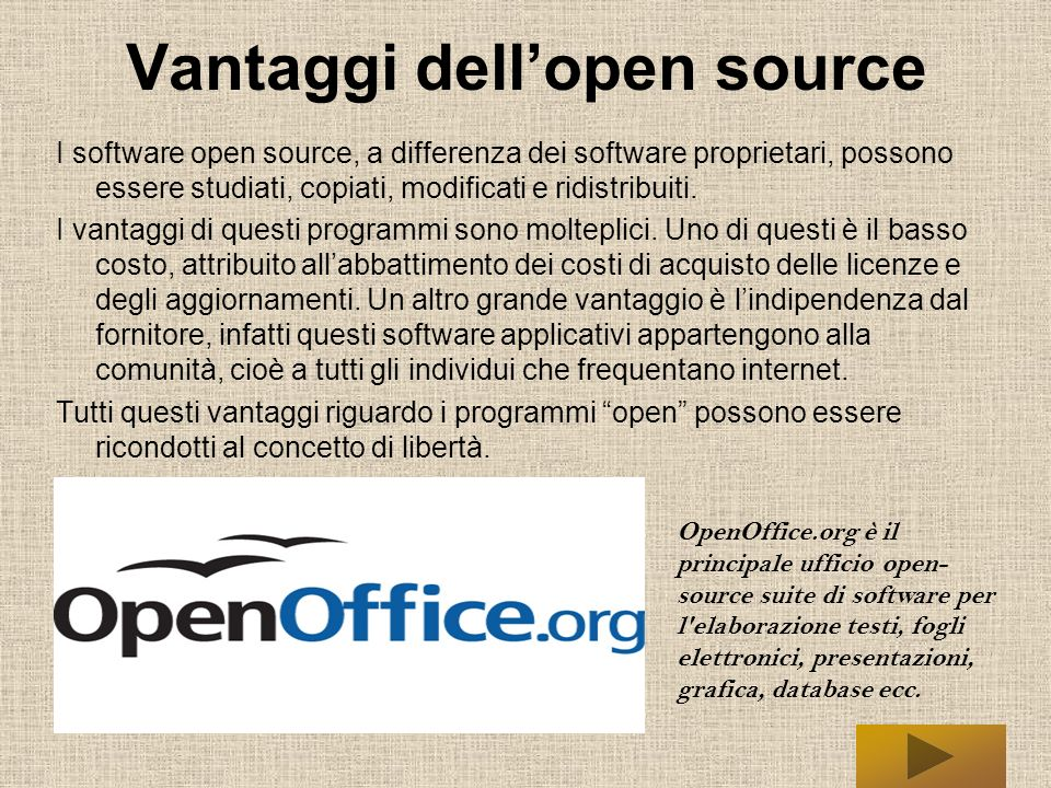 Vantaggi dell'open source