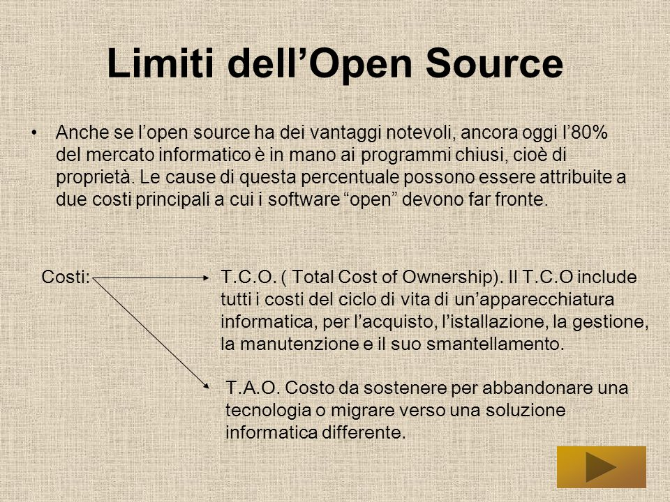 Limiti dell'Open Source