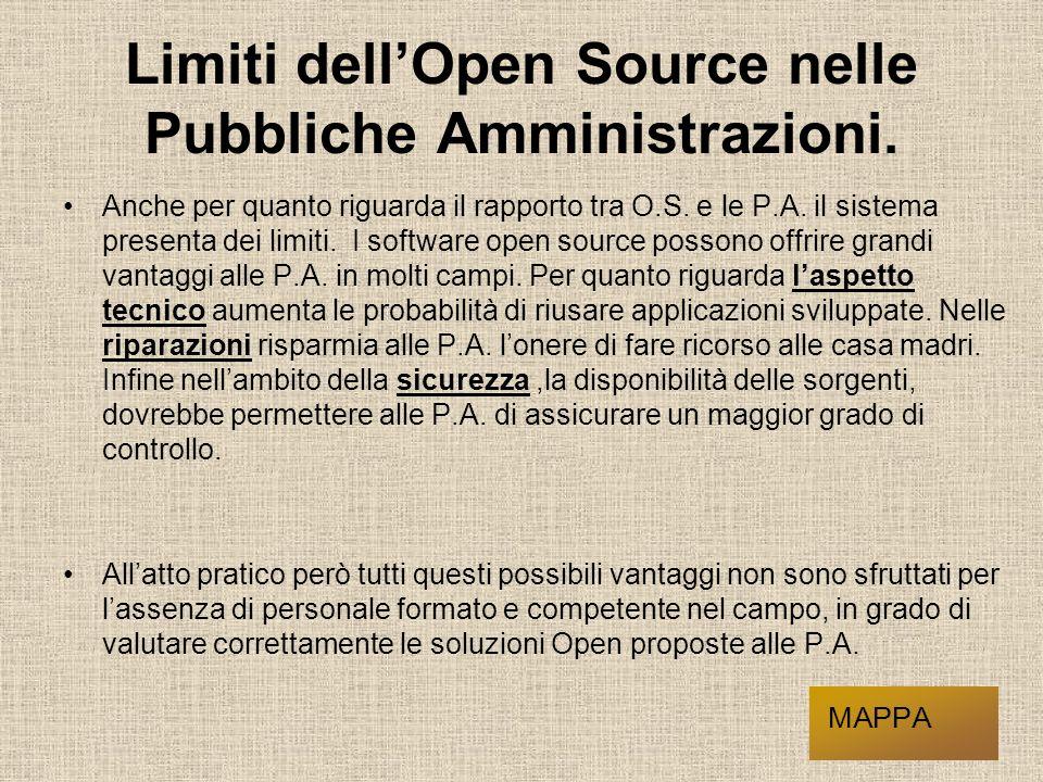 Limiti dell'Open Source nelle Pubbliche Amministrazioni.