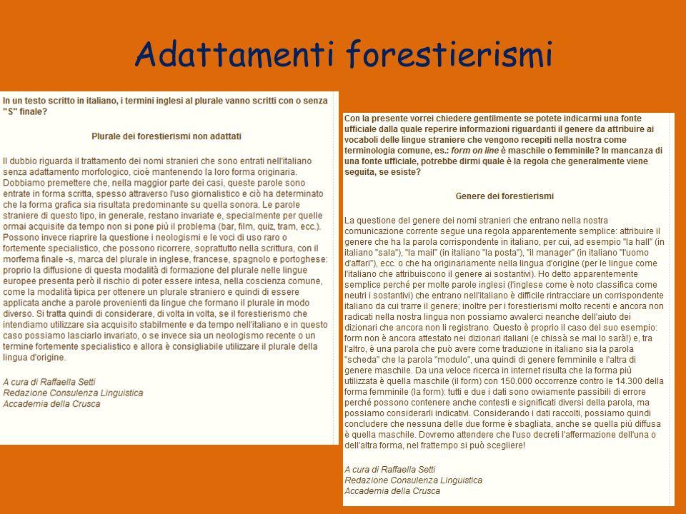 Adattamenti forestierismi