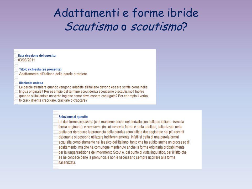 Adattamenti e forme ibride Scautismo o scoutismo