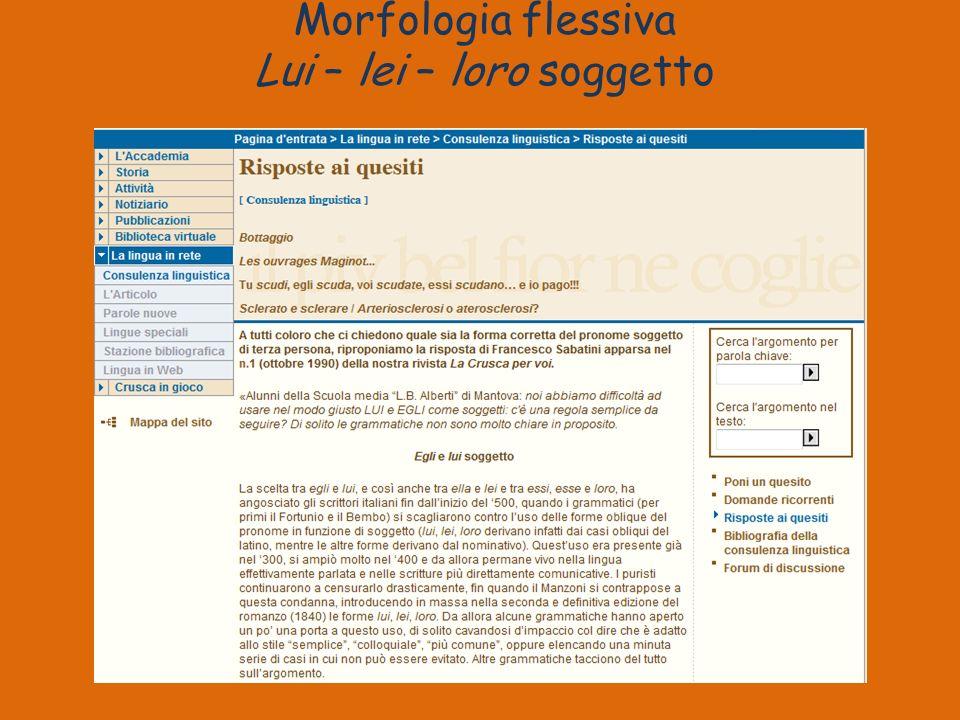 Morfologia flessiva Lui – lei – loro soggetto