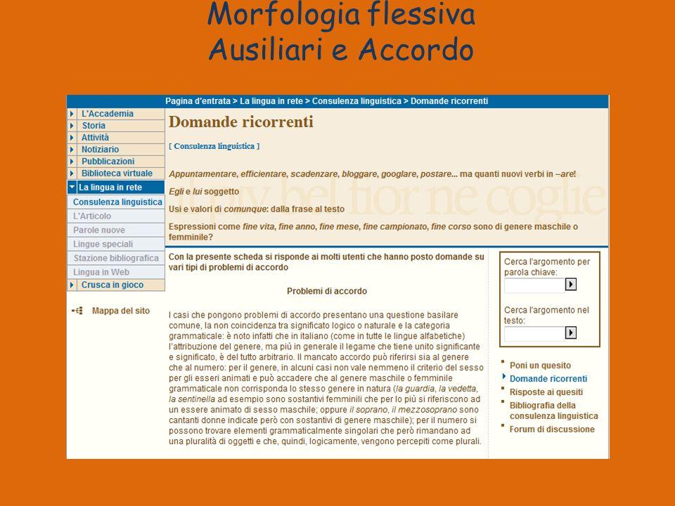 Morfologia flessiva Ausiliari e Accordo
