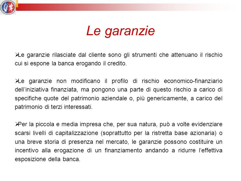 Le garanzie Le garanzie rilasciate dal cliente sono gli strumenti che attenuano il rischio cui si espone la banca erogando il credito.