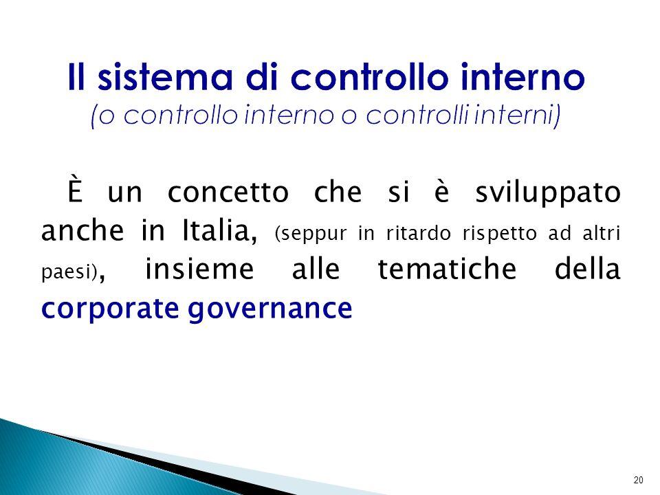 Il sistema di controllo interno (o controllo interno o controlli interni)