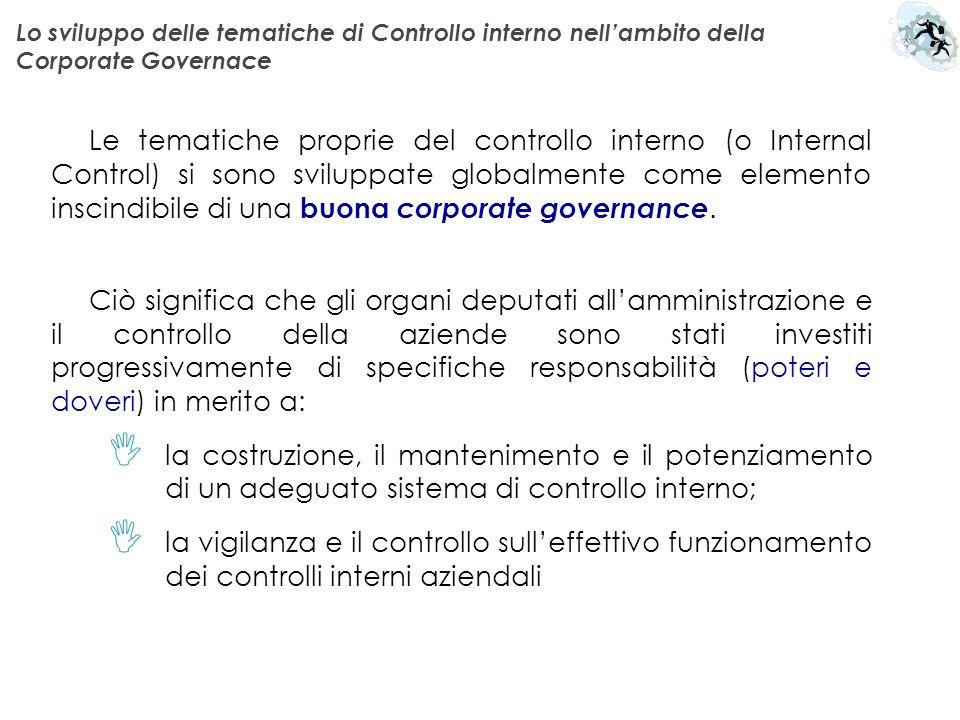 Lo sviluppo delle tematiche di Controllo interno nell'ambito della Corporate Governace