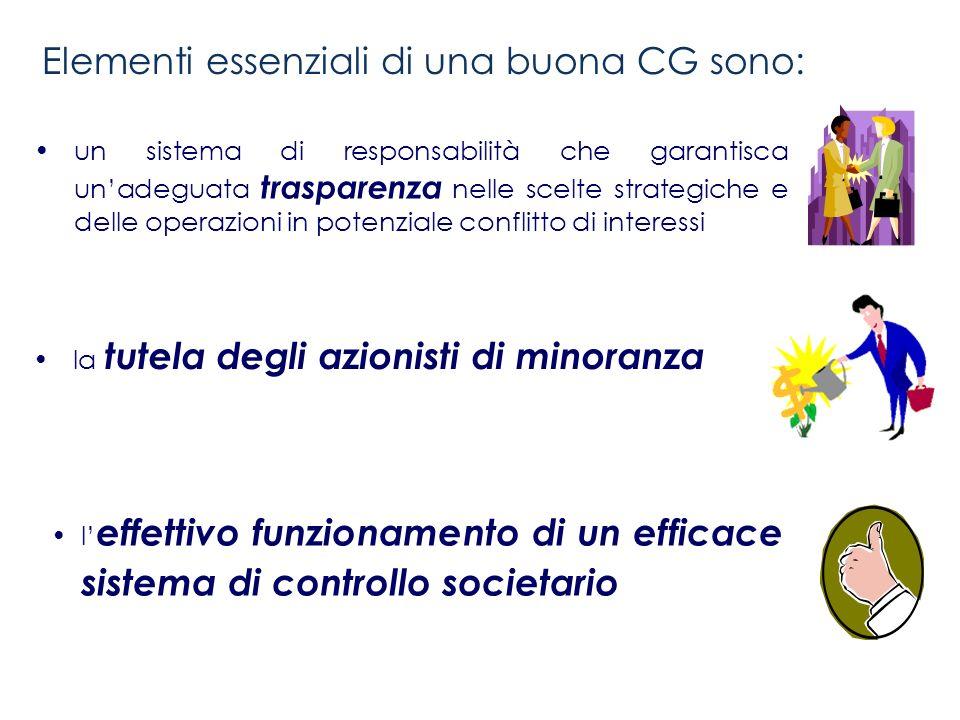 Elementi essenziali di una buona CG sono: