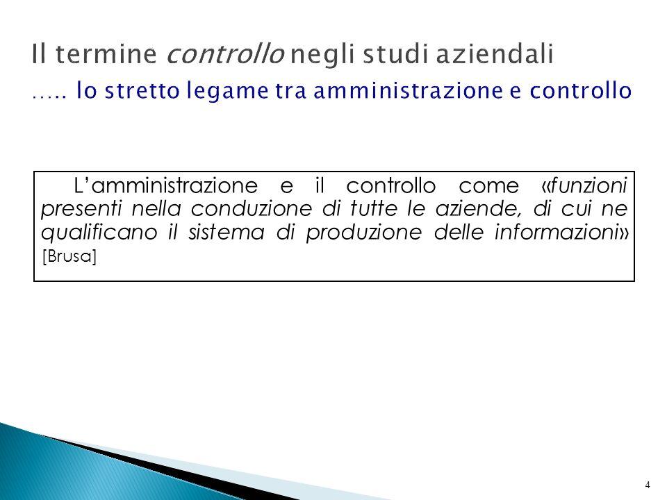 Il termine controllo negli studi aziendali …