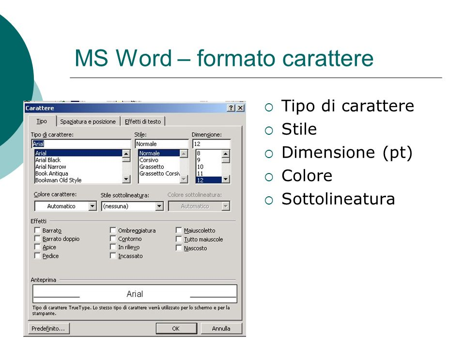MS Word – formato carattere