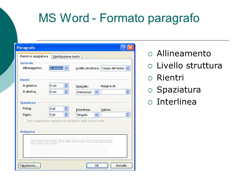 MS Word - Formato paragrafo