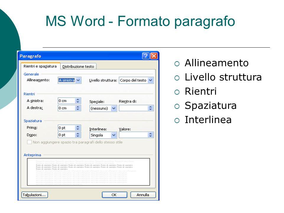 MS Word - Formato paragrafo