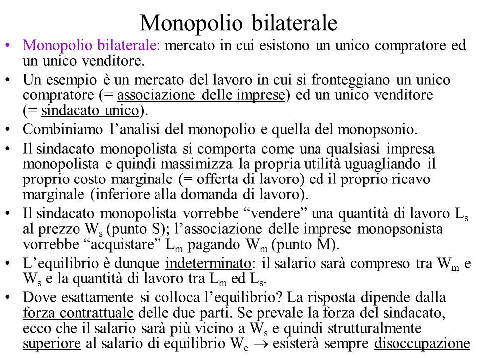 Monopolio bilaterale Monopolio bilaterale: mercato in cui esistono un unico compratore ed un unico venditore.
