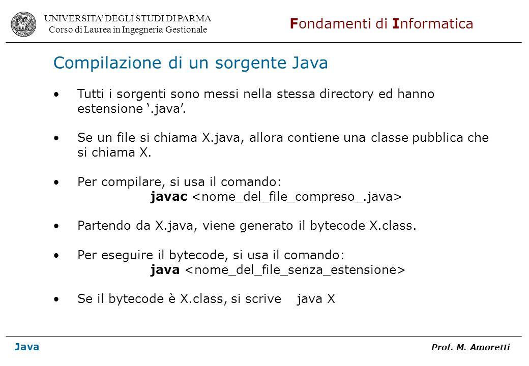 Compilazione di un sorgente Java