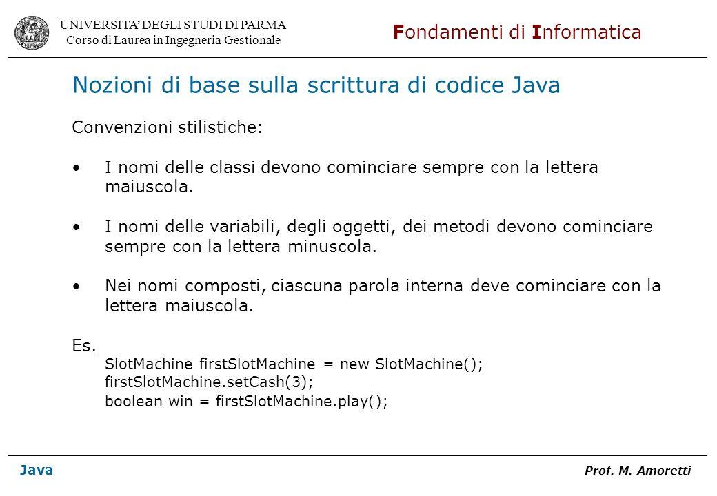 Nozioni di base sulla scrittura di codice Java