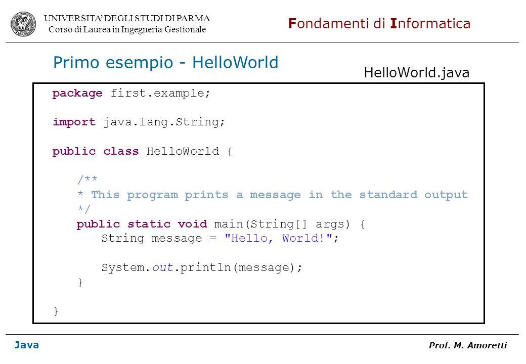Primo esempio - HelloWorld