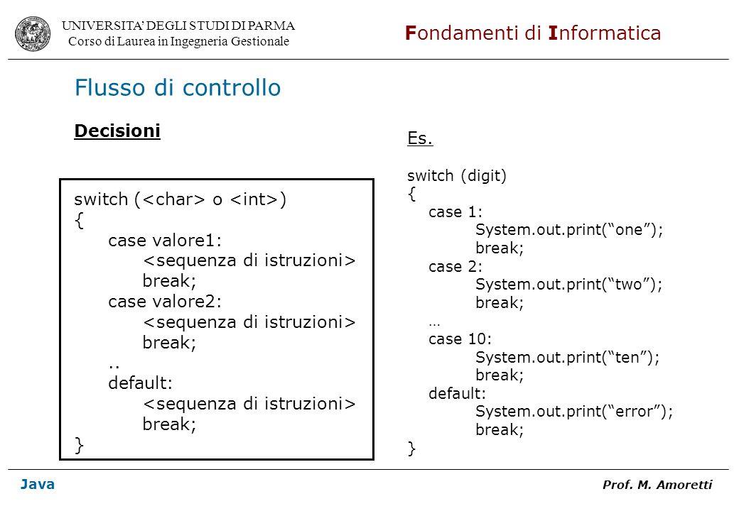 Flusso di controllo Decisioni Es. switch (<char> o <int>)