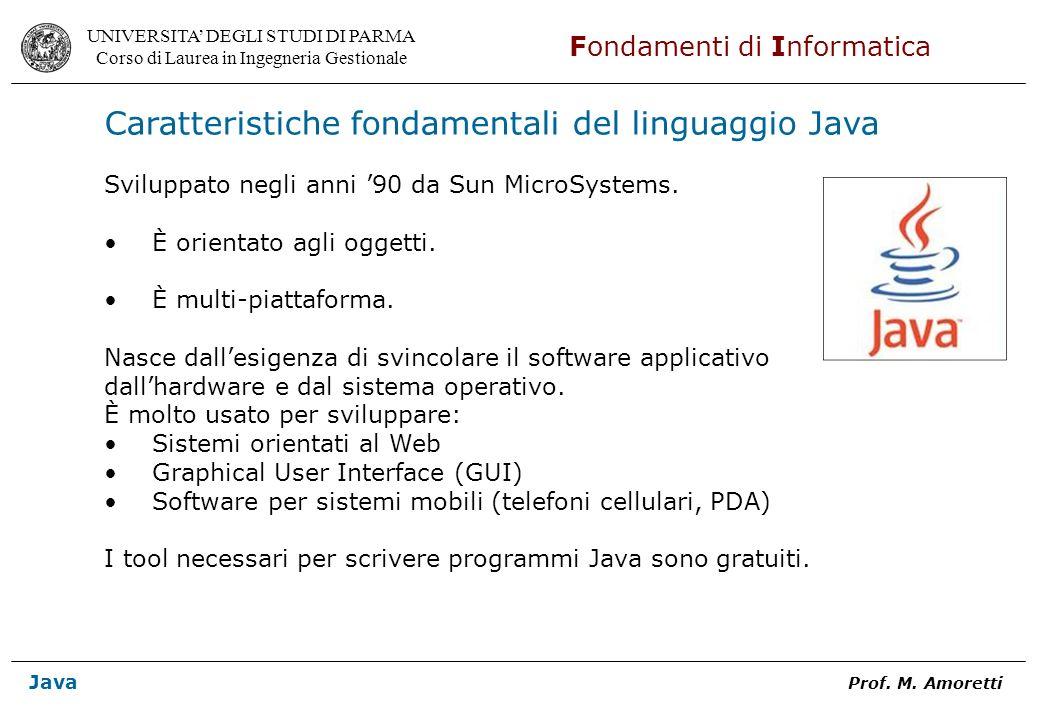 Caratteristiche fondamentali del linguaggio Java
