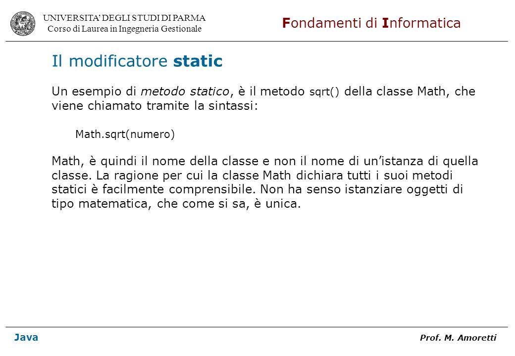 Il modificatore static