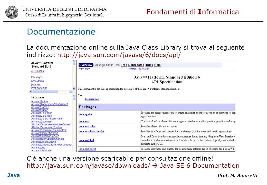 Documentazione La documentazione online sulla Java Class Library si trova al seguente. indirizzo: http://java.sun.com/javase/6/docs/api/