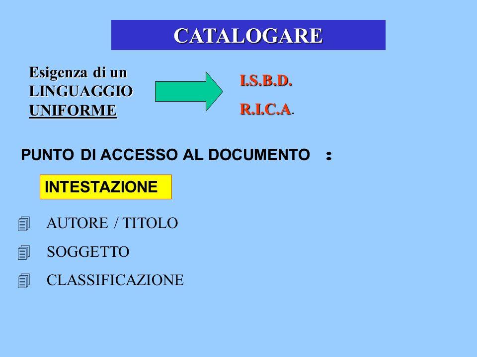 CATALOGARE Esigenza di un LINGUAGGIO UNIFORME I.S.B.D. R.I.C.A.
