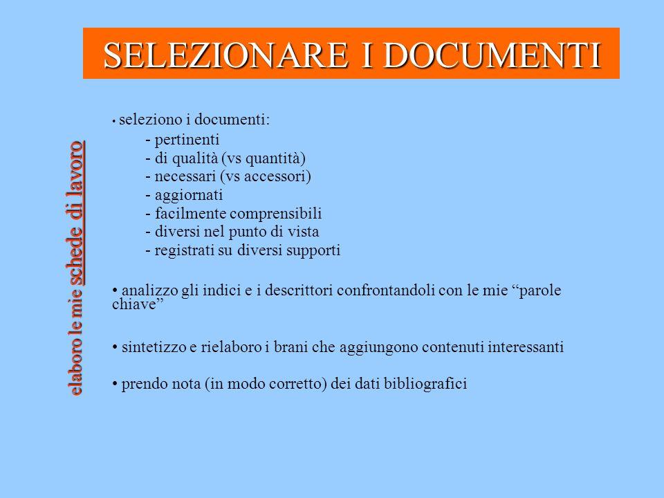 SELEZIONARE I DOCUMENTI